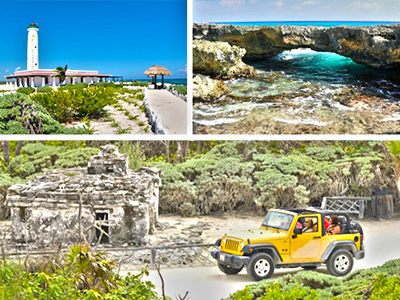 Cozumel jeep tour and Cozumel beach snorkel in Punta Sur Park Cozumel Mexico